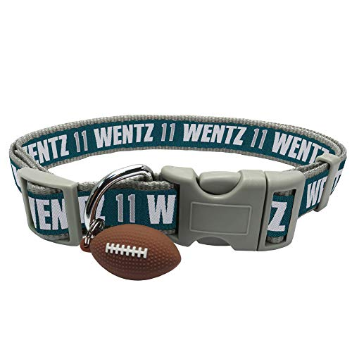 NFLPA DOG COLLAR - CARSON WENTZ #11 Pet Collar - NFL PHILADELPHIA EAGLES Adjustable Dog Collar, Large