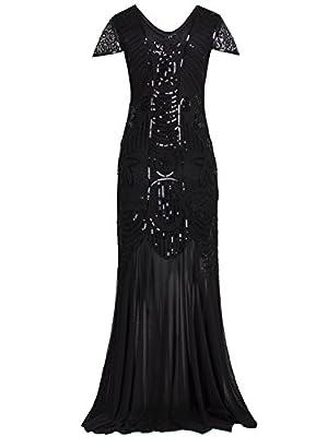 Vijiv 1920s Flapper Dresses With Sleeve Long Gatsby Style 20s Roaring Prom Dress