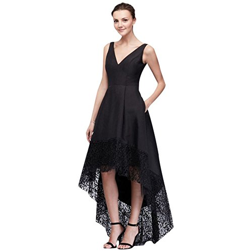 David's Bridal Taffeta High-Low Ball Gown with Wide Lace Hem Style A18327, Black, 6 by David's Bridal