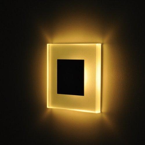 SUN LED Small 75x75 WarmWeiß / weiß Einbauleuchten Glas-Alu Hochwertig Treppenlicht Wand Stufen Treppen Beleuchtung
