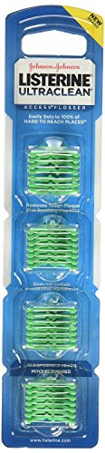 Listerine Ultraclean Access Flossers Disposable Heads Fresh Mint Crystals 28 Each (Pack of 3) by J&J