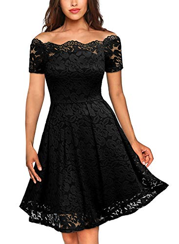 MISSMAY Women's Vintage Floral Lace Short Sleeve Boat Neck Cocktail Party Swing Dress, XX-Large, Black