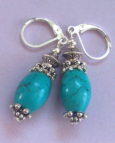 Blue Turquoise Howlite Barrel Shape Sp Earring Handcrafted Rhinestone Earrings For Women Set