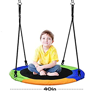 Lroplie 40 Inch Saucer Tree Swing , Adjustable Multi-Strand Ropes ,Large Rope Swing with Children Swing Flying 660lb Weight Colorful Safe and Durable Swing Seat for Children Adults (Multicolored): Toys & Games