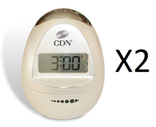 CDN Digital Egg Shaped Kitchen Timer 100 Min W/ Alarm Peal White TM12-W (2-Pack) (Timer Shaped Egg)