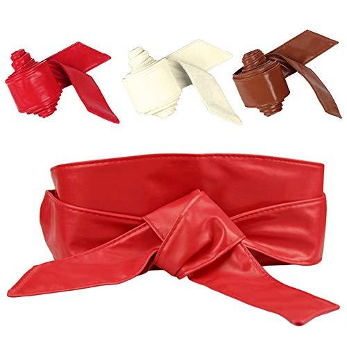 LOCOMO 3 Pack Women PU Leather Obi Belt Wrap Tie Sash Wide Waistband ()