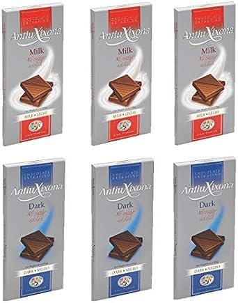 Pack de 6 chocolates sin azúcares añadidos Antiu Xixona. 3 x Chocolates con Leche & 3 x Chocolates Puros: Amazon.es: Alimentación y bebidas