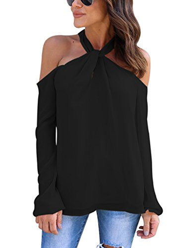 FARYSAYS Women's Long Sleeve Off Shoulder Halter Knot Neck Shirt Blouse Tops Black Small