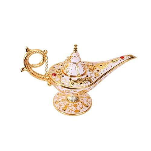 YOTATO Retro Metal Statue Sculpture Aladdin Magic Lamp Tin Alloy Home Decoration Collection Save Art Craft Gift