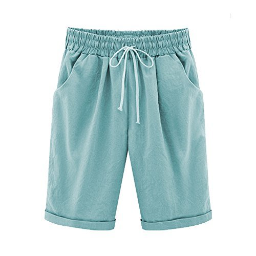 Women's Outdoor Drawstring Elastic Waist Casual Comfy Bermuda Hiking Shorts Turquoise Tag 6XL-US 16 ()