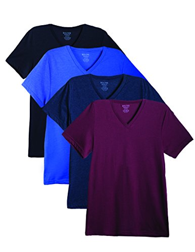 Bolter 4 Pack Men's Everyday Cotton Blend V Neck Short Sleeve T Shirt (Large, ()