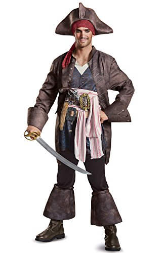 Disguise Men's Plus Size POTC5 Captain Jack Sparrow Deluxe Adult Costume, Brown, XX-Large