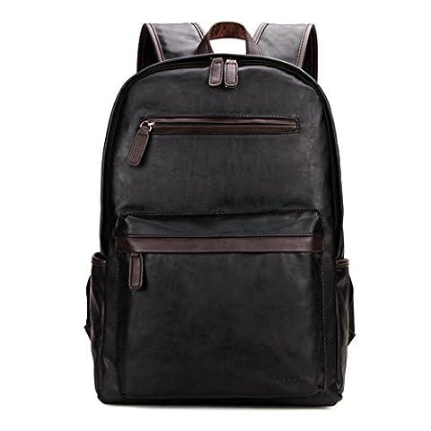 VICUNA POLO PU Leather Men Backpack College Bookbag Laptop Backpack For Men(black)