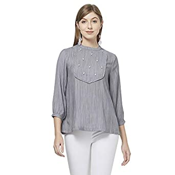 Fusion Beats Women Blended Grey Solid Top