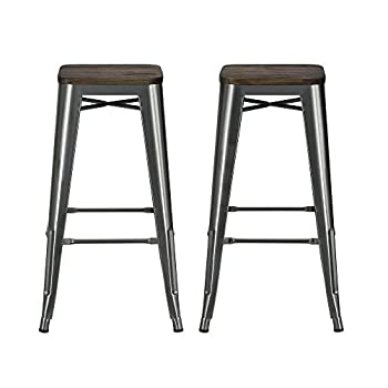 """DHP Fusion Metal Backless 30"""" Bar Stool with Wood Seat, Distressed Metal Finish for Industrial Appeal, Set of two, Antique Gun Metal"""