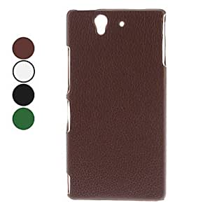 Solid Color litchi Pattern PC Hard Case for Sony L36h Xperia Z (Assorted Colors) --- COLOR:Black