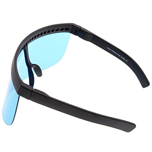 68b53a51c1 sunglassLA - Futuristic Oversize Shield Visor Sunglasses Flat Top Mirrored  Mono Lens 172mm