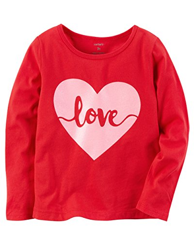 Carters Baby and Toddler Little Girls Valentines Day Red Love Heart Shirt With Pink Glitter (5T) (Girls Glitter T-shirt)