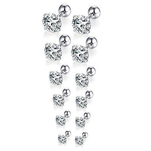 - FOSIR 6 Pair 18G Stainless Steel Stud Earrings for Men Women Cartilage Ear Piercing Cubic Zirconia Inlaid 3-8MM