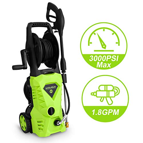 WHOLESUN 3000PSI Electric Pressure Washer 1.8GPM 1600W Power Washer with with Hose Reel and Brush Green