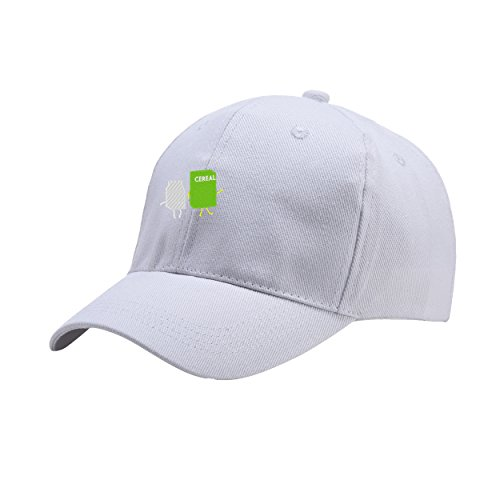 - NeeKer Milk and Cereal White Peaked Hat Embroidered Logo Adjustable Dad Cap