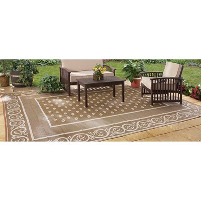 Outdoor Reversible Patio/RV Mat, 6ft. x 9ft, Khaki, Model# 47946 (For Rugs Outside Decks)
