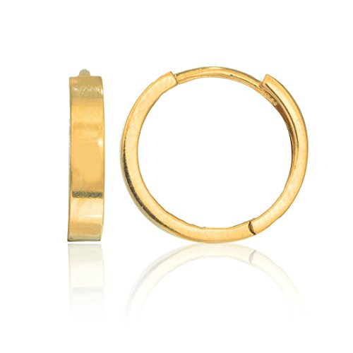 14k Yellow Gold Square Flat-eged Tubular Huggies Hoops Hoop Earrings 14 Mm ()