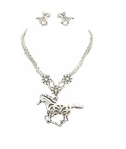 Western Cowgirl Jewelry Rhinestone Horse Necklace Earrings Set Silver Tone Jp (Rhinestone Western Jewelry)