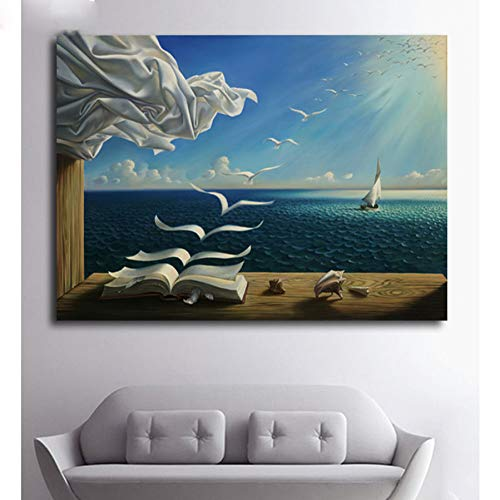 LBGMM The Waves Book Sailboat for Salvador Dali Diamond Painting Full Square Diamond Embroidery Mosaic Cross Stitch Needleworks-40x50cm (Sailboat Mosaic)
