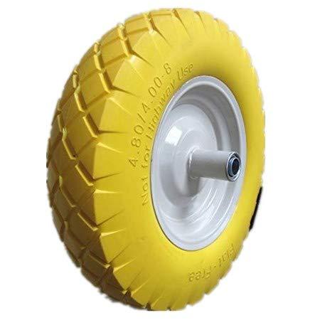 Kunhua 16-PU-Y-FK-20 4.80/4.00-8″ Flat Free Wheelbarrow Tire with Knobby Tread 6″ Centered Hub(Two Sides Symmetrical) 3/4″ Ball Bearings 15.5″ Tire Diameter For Sale