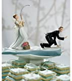 Gone Fishing Bride Groom Comical Wedding Cake Topper