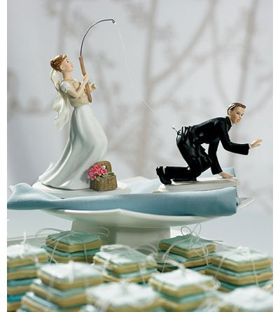 Gone Fishing Bride Groom Comical Wedding Cake Topper ()