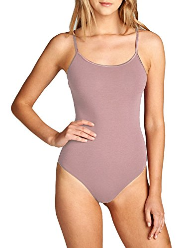 Bodysuit Cotton (Hollywood Star Fashion Snap Crotch Thin Strap Leotard Bodysuit Camisole (Small, Light Mauve))