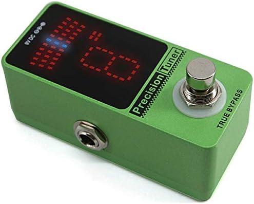 ギターエフェクター LEDディスプレイペダルチューナーギターチューナーペダル±1セントギタートゥルーバイパス用アダプター付き ディストーション (Color : Green, Size : Free size)