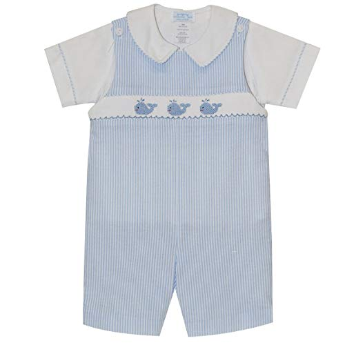 - Collection Bebe Whales Smocked Boys Shortall Short Sleeve Light Blue