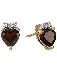 18k Yellow Gold Plated Sterling Silver Garnet and Diamond Accent Post Earrings