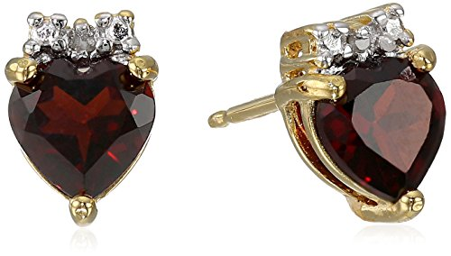18k Yellow Gold Plated Sterling Silver Genuine Garnet and Diamond Accent Heart Stud (18k Yellow Gold Heart Earrings)