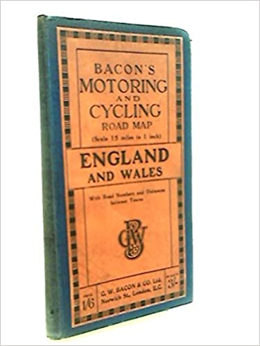 Road Map Of England And Wales With Towns.Bacon S Motoring And Cycling Road Map Of England And Wales With Road