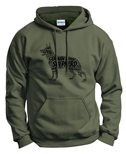 Dog Accessories German Shepherd Word Art Dog Puppy Owner Gift Hoodie Sweatshirt 2XL MlGrn Military Green