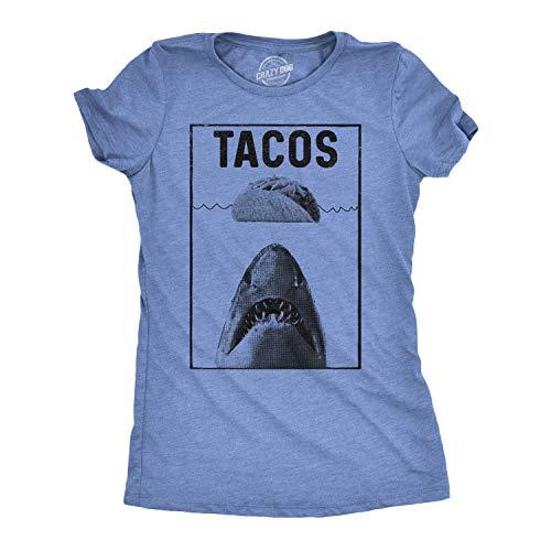 Womens Tacos Shark Tshirt Funny Jaws Cinco De Mayo Tee for Ladies (Heather Light Blue) - XXL