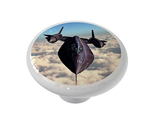 Plane Drawer Knob (Black Bird Spy Plane Ceramic Drawer Knob)