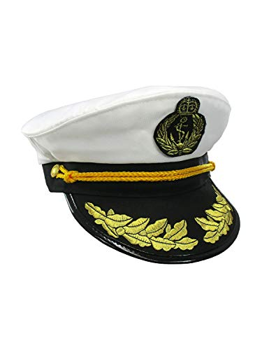 Nicky Bigs Novelties Yacht Captain Hat Sea Skipper White Navy Sailor Cap Costume Boater Hat -