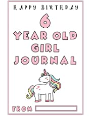 6 Year Old Girl Journal: A Black and White Ruled, Birthday Journal for Girls; 6 year old girl gifts