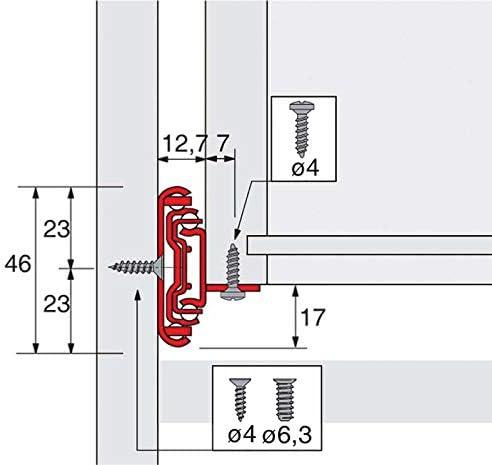 Longueur : 300 mm Coulisses /à billes ka 4532 am push to open HETTICH Profondeur int/érieur de caisson mini : 304 mm