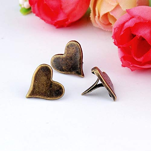 Garment Rivet - 50PCs Bronze Pastel Heart Brads Scrapbooking Embellishment Holiday Decoration & Gift 11x11mm F0733