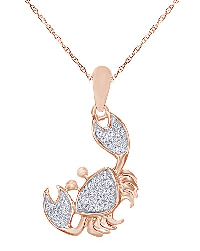 Wishrocks Round Cut Natural Diamond Accent Crab Pendant Necklace in 14K Rose Gold Over Sterling Silver ()
