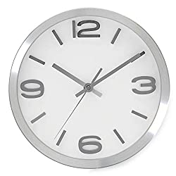 Bernhard Products Wall Clock 10 Inch Modern Silver Round Elegant Metal Quality Quartz, Silent Non Ticking Battery Operated Home Office Clock with 3D Numbers (10 Inch)