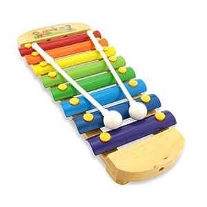 Xilófono de colores de madera para niños. Medidas 28 cm x 12,5 cm. Incluye estuche con dos baquetas de 16 cm.