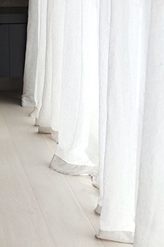 Amazon.com: A pair of White Sheer Linen curtains, sheer curtain