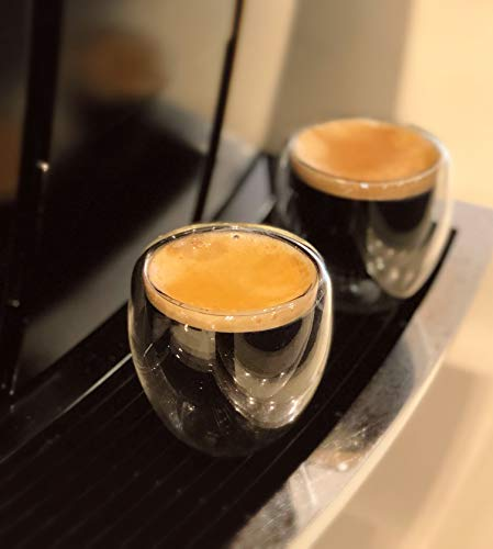 [2-Pack,2.5 Oz] Espresso Cups,Nespresso Shot Glass,Double Wall Glass Coffee Mugs,Insulated Coffee Cups,Clear Glass Mugs,Beverage Glasses,Cappuccino Cups,Heat Resistant,Suit for Nespresso Machine